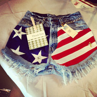 Levis High waist destroyed studded USA denim shorts