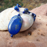 Polished Lapis Lazuli Pendant and Stones on Hand-Looped Wire Necklace