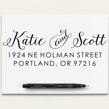 Custom Rubber Stamp - Self Inking Return Address Stamp - Calligraphy Stamp Style (B16)