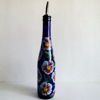 Recycled Wine bottle Oil dispenser, Olive oil, Cobalt blue glass, Hand painted, Blue and Red flowers, Kitchen decor, 375ml