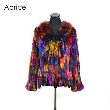 CR078 genuine rabbit fur coat women's winter brand new warm real fur knitted coat jacket
