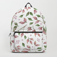Watercolor Pink Green Leaves and Vines Backpack by DazzetteMarie