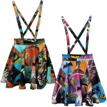Superhero Comic Suspenders Mini Skirt
