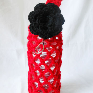 Water bottle cozy - red bottle tote with black rose, key ring, and carying handle