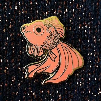 Sad Fish Hard Enamel Pin - Gold and Orange - Lapel Pin - Goldfish Black Telescope