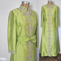 1960s Gown Party Dress / lime green  / M-L