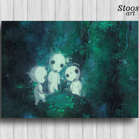 kodama tree spirit print anime watercolor princess mononoke art