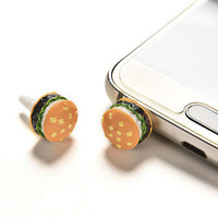 2 Pcs Cute Simulated Hamburger Phone Anti Dust Plug For 3.5mm Earphone Jack Plug