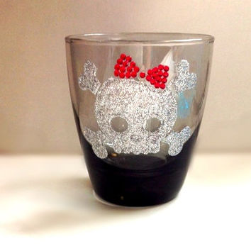 Glitter skull drinking glass