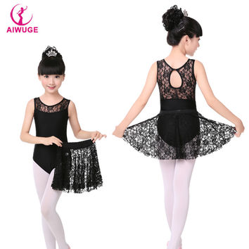 Girls Kids Vest Leotards Dress Black Lace Skirt Children Gymnastics Leotard Dress Ballet Dance Wear
