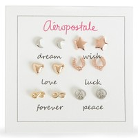 Aeropostale Womens Symbol Earrings 6-Pack, One
