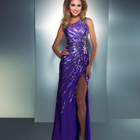 Mac Duggal Prom 2013 - One Shoulder Purple Sequined Dress - Unique Vintage - Cocktail, Pinup, Holiday & Prom Dresses.