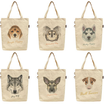 Women Portraits of Dog Printed Canvas Tote Shoulder Bag WAS_40