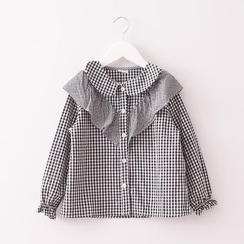 Baby Girls Spring autumn Turn down collar Lace blouse Children plaid Shirt Clothes