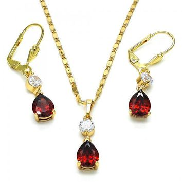 Gold Layered 10.213.0010 Necklace and Earring, Teardrop Design, with Garnet and White Cubic Zirconia, Polished Finish, Golden Tone