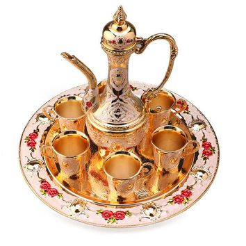 ONETOW Hot Sale New Traditional Tea Set Retro Vintage Wine Set Cabinet Article Decor, Wine pot+Tray+Wine cup BS