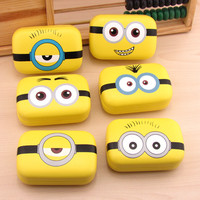 1PCS Christmas Gift cute DIY new sweet expression Minions series random patterns Contact Lenses Box & Case/Contact lens Case