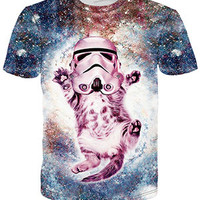 Brand Clothing Harajuku Hip Hop T-shirt Women/Men's 3D animal Printed Cute Cat/Wolf Space/Tiger Galaxy t shirt top tee shirts