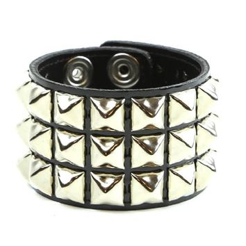 3 Row Silver Pyramid Stud Pvc Patent Leather Wristband Cuff Bracelet