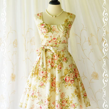 My Lady - Cream With Pink Floral Sundress Spring Summer Floral Dress Garden Party Dress Floral Bridesmaid Dresses Vintage Design XS-XL