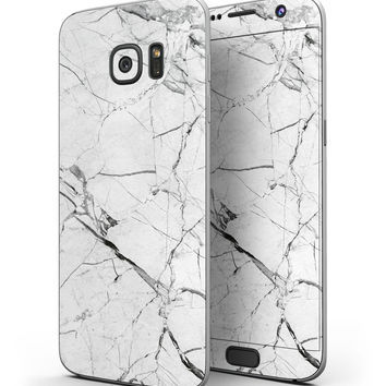 Cracked White Marble Slate - Full Body Skin-Kit for the Samsung Galaxy S7 or S7 Edge