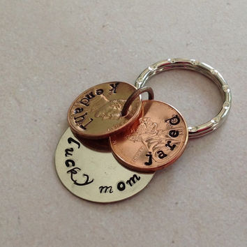 Lucky Penny Keychain personalized with kids names.