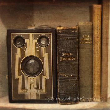 "old books photograph,Vintage home decor""Old camera and books"" fine art print,antique,camera,still life,brown,gold,fall decor,autumn"