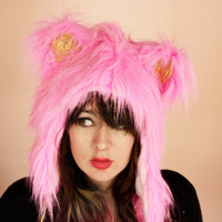 Fraggle Muppet Pink with Gold Tinsel Glitter Kawaii Critter HOOD - Cosplay -Halloween - Burning Man - Furry - Unique Gift