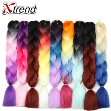 Xtrend Ombre Kanekalon Braiding Hair Extensions 24inch Synthetic Jumbo Braids Crochet Hair For Women Purple Burgundy Green 5PCS