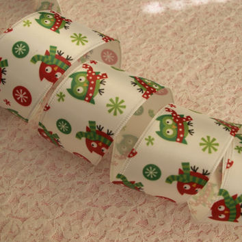 """Christmas Ribbon, Red and Green Owls, 1 1/2"""" wide, Wired Edge, Bows, Baskets, Wreaths, Ornaments, Home Decor, Ribbon Decorations, 3 YARDS"""
