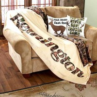 Remington Outdoorsman Home Pillows / Sherpa Throw Deer Home Cabin Lodge Decor