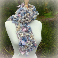 Chunky Wool Scarf Homespun Silk and Wool Crochet Neckwarmer Bubbles and Bows