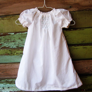 White  peasant dress, coming home outfit, sister dresses, newborn - size 6, toddler dress, girls dress, smocked