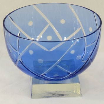 Cobalt Blue Cut to Clear Crystal Bowl on Clear Glass Square Slab Base