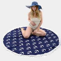 Round Moroccan Nautical Anchor Tassel Beach Blanket Towel