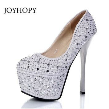 JOYHOPY 2018 New 16cm Super High Heels Sexy Women Nightclub Platform Shoes Round Toe Pumps Ladies Wedding Crystal Shoes WP1113