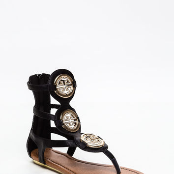 Tri-Medallion Gladiator Sandals