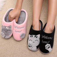 Women Winter Home Slippers Cartoon Cat Home Shoes Non-slip Soft Winter Warm Slippers I