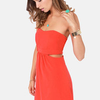 Notch to Mention Strapless Cutout Coral Red Dress