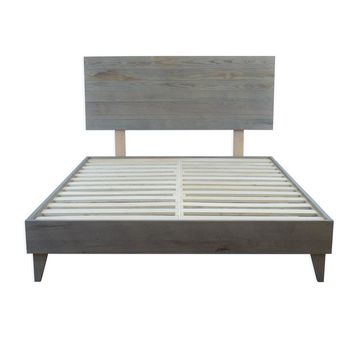 COMBO: Mid Century Reclaimed Ash Barn Wood Platform Bed Frame AND Headboard  - Handmade by Amish Craftsman
