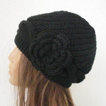 Hand Knit Hat - Victorian  Hat black with black  flower  - Spring Fashion - Womens hat -Winter hat  fashion -Mothers Day - accessories