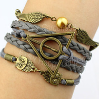 gray leather bracelet jewelry bracelet bronze harry potter bracelet lover owl bracelet wings bracelet  wax cord bracelet best  gift.-J833