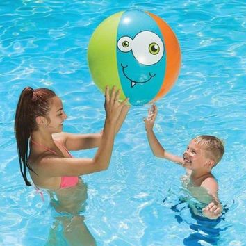"24"" Blue Orange and Green Monster-Theme 6-Panel Inflatable Beach Play Ball Swimming Pool Toy"