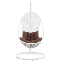 Bestow Swing Outdoor Patio Lounge Chair in White Brown