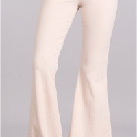 Chatoyant Mineral Wash Bell Bottom Soft Pants - Nude