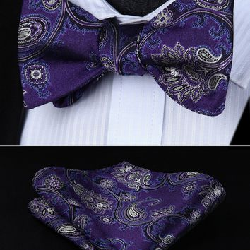 BP714PS Purple Blue Paisley Bowtie Men Silk  Self  Bow Tie handkerchief set