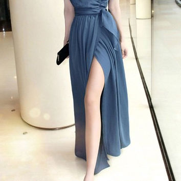 Deep Blue V-Neck Maxi Dress