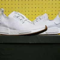 NEW Men's Adidas NMD_R1 Primeknit BY1888 Gum Pack White Sz 9 Nomad Boost