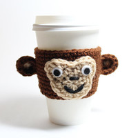 Monkey Coffee cozy, crocheted Cup Sleeve, Animal Cozy, Christmas In July Sale