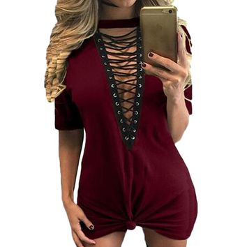 S-3XL Summer T Shirt Dress 2017 Women Sexy V Neck Lace Up Bandage Midi Dress Tunic Tops Bodycon Club Party Dresses Vestidos